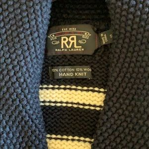 Double RL RALPH LAUREN Navy-Cream striped Sweater